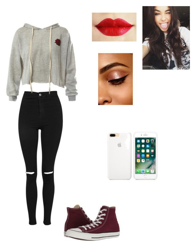 """"""".."""" by paige-doherty on Polyvore featuring Topshop, Sans Souci, Converse and GET LOST"""