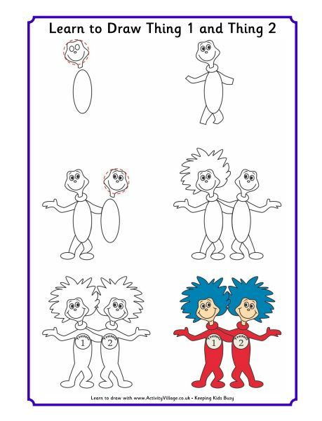 Learn To Draw Dr Seuss Characters Thing 1 And Thing 2 Check Out