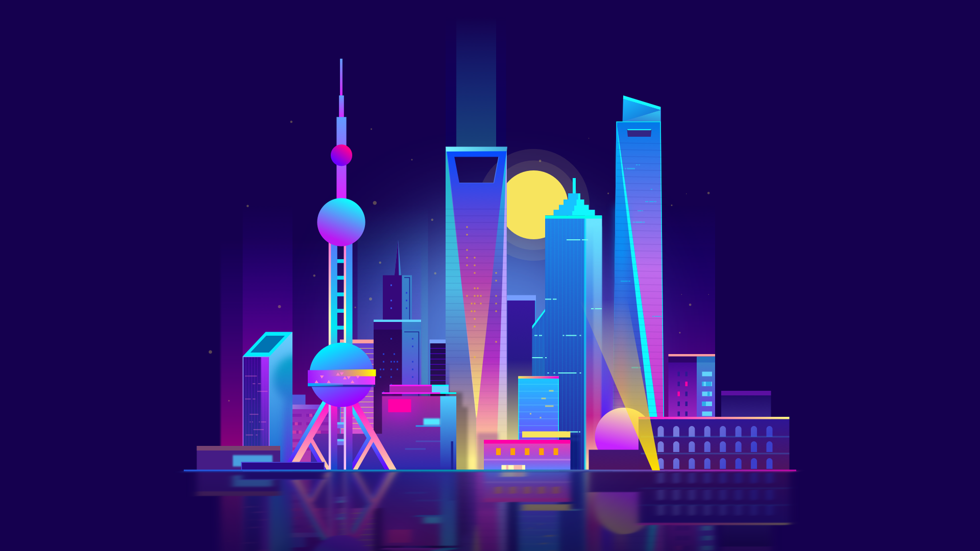 Shanghai City Hd Shanghai City City Illustration Vaporwave Wallpaper