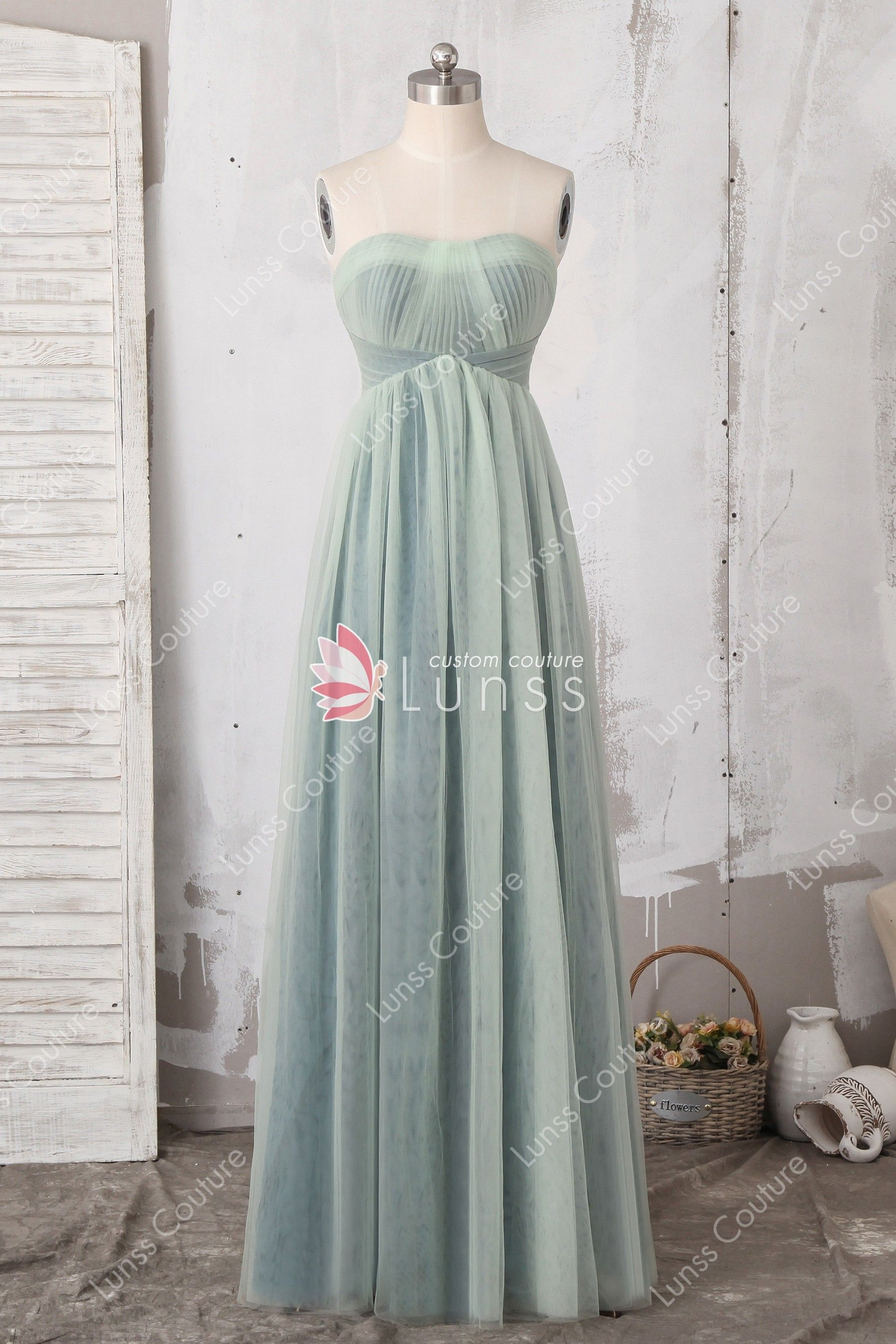 cf408a28dbf Chic Sage Green Strapless Pleated Bodice Open Back Floor-length A-line  Tulle Bridesmaid  Prom Dress