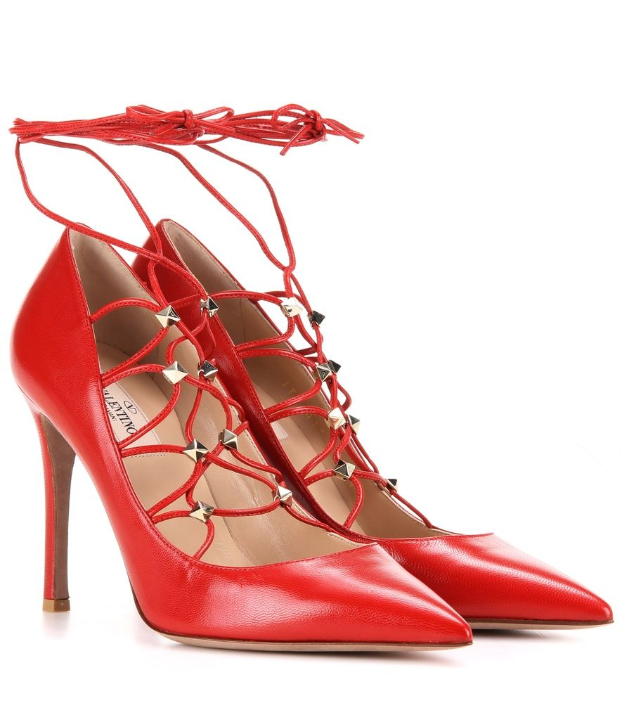 Valentino Rockstud leather lace-up pumps Red : Buy replica watches,  designer replica handbags, cheap wallets, shoes for sale