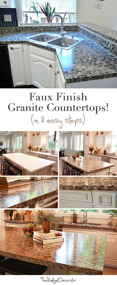 Diy Faux Granite Countertops In Just A Few Easy Steps The Budget Decorator Faux Granite Countertops Diy Kitchen Faux Granite