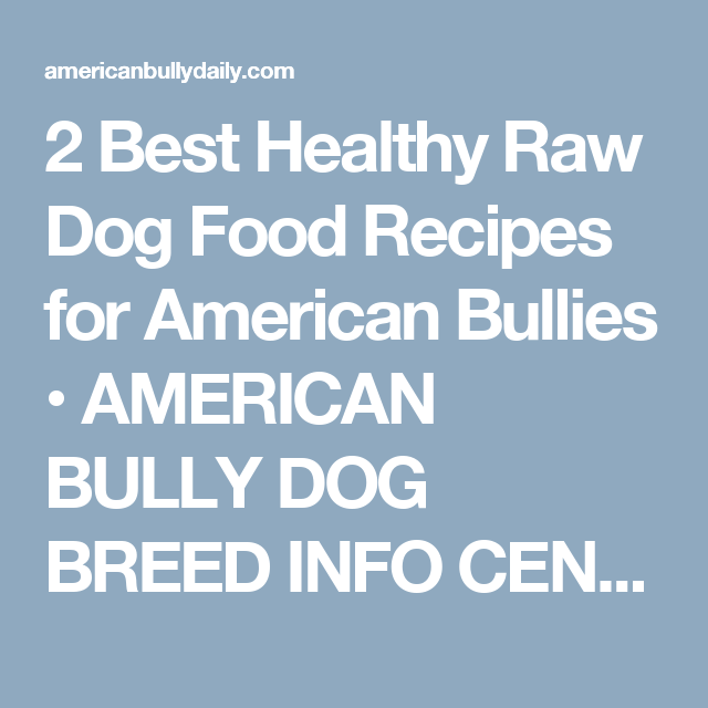 2 best healthy raw dog food recipes for american bullies american 2 best healthy raw dog food recipes for american bullies american bully dog breed info center forumfinder Image collections