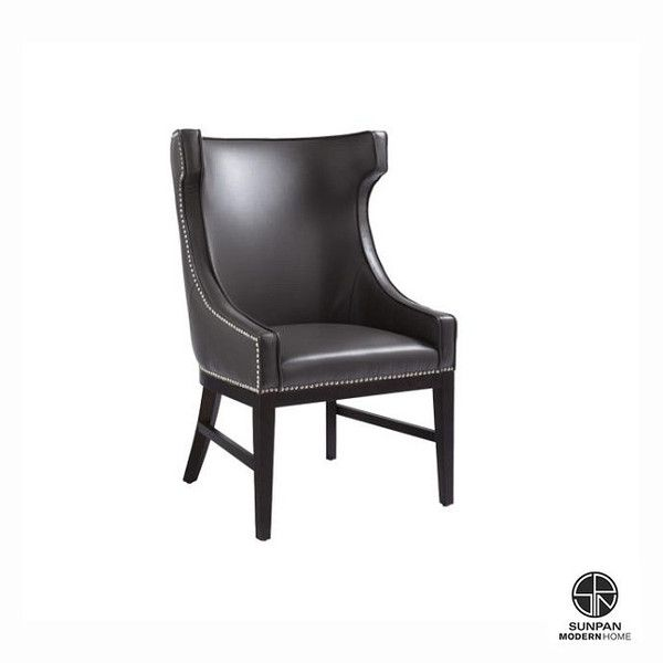 Sunpan Kashmir Dining Chair. use for head chair only. Features silver nail head with an espresso frame and legs. Stocked in brown, ivory and grey bonded leather. $760