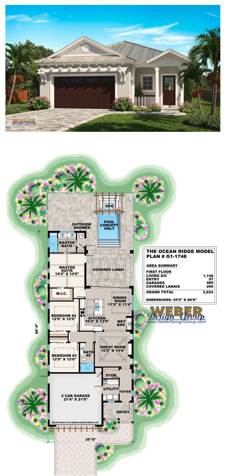 The ocean ridge model is a narrow lot house plan with a transitional