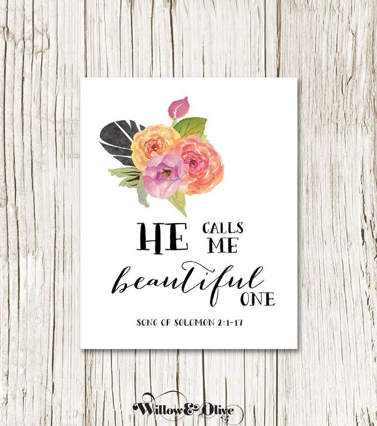 HE CALLS ME BEAUTIFUL ONE Bible Verse Art Print. Perfect For Any Style Of  Decor