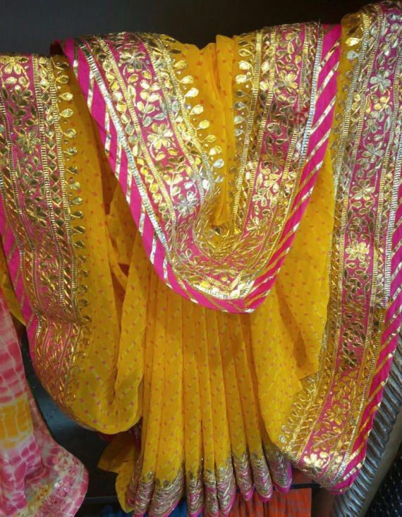 b2e22ea515 Georgette Leheriya Saree with Gota Patti work   sarees   Saree ...