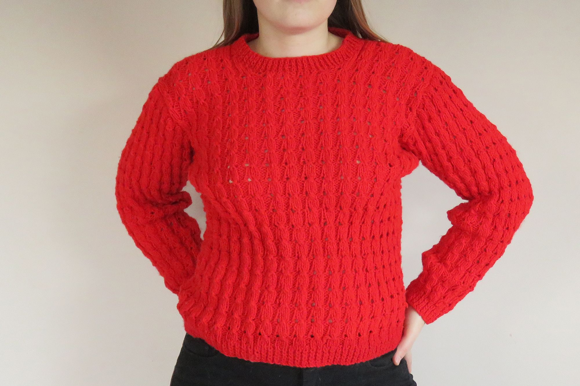 80s Red Chunky Knit Jumper