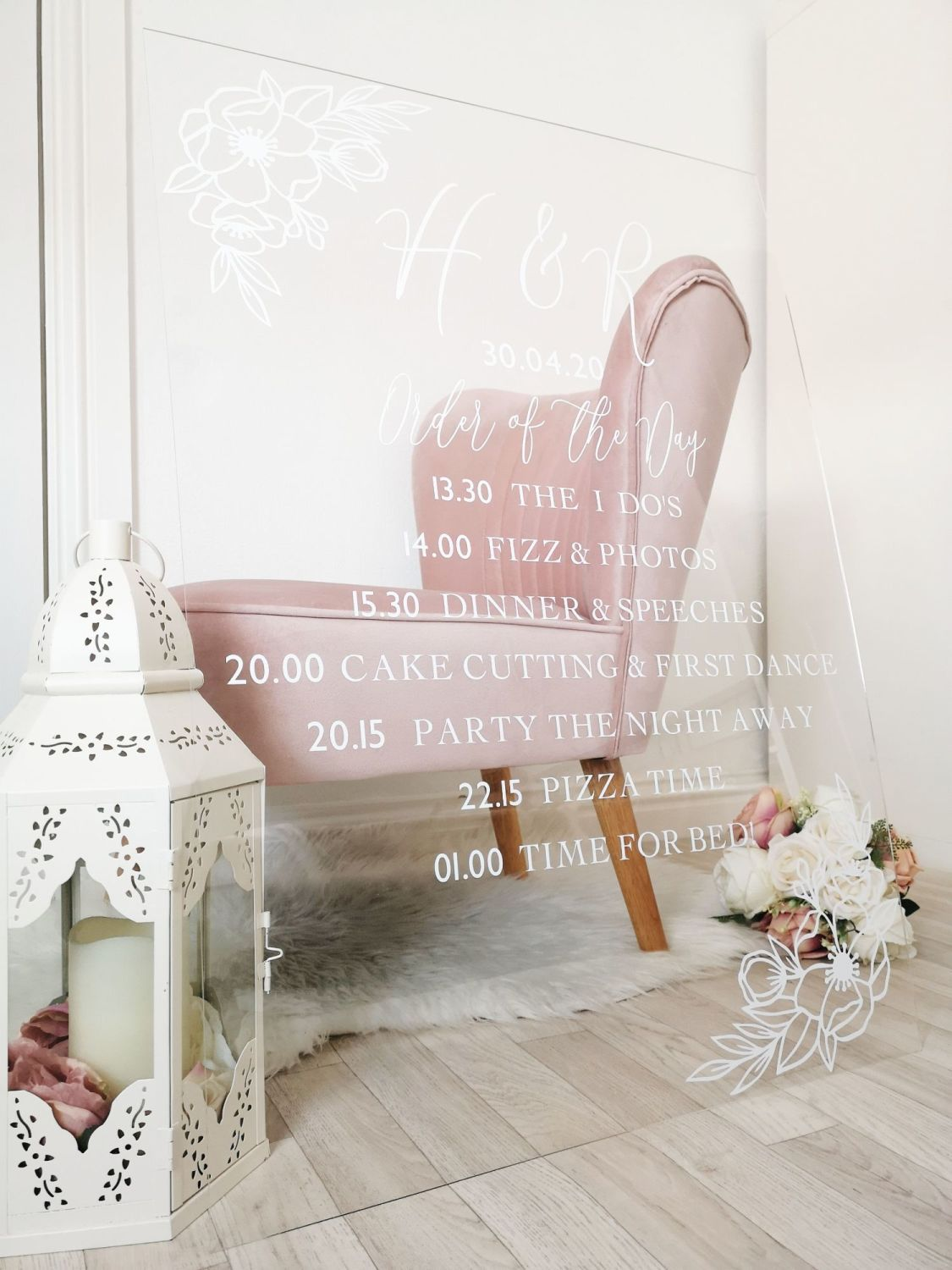 A1 Order of the Day Acrylic Wedding Sign in 2020 Wedding