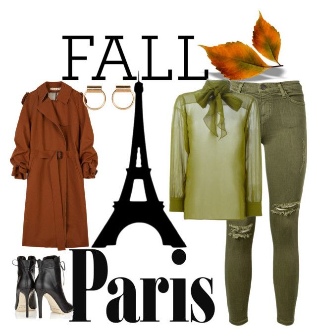 """""""Fall in Paris 2"""" by willy3384 on Polyvore featuring Current/Elliott, Gucci, Marni, Jimmy Choo, Fall, paris and autumncolor"""