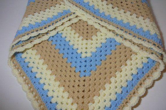 Crocheted  Baby Blanket/Blue/Beige/Ivory        by fashionablekids, $49.00