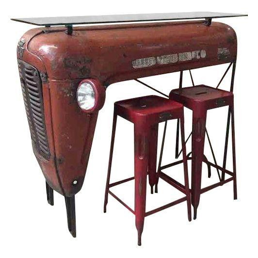 Red Upcycled Vintage Tractor Bar Dining Set                                                                                                                                                                                 More