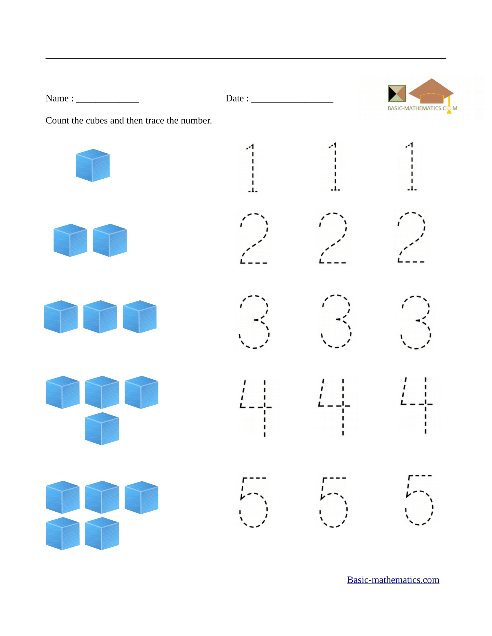 Count and trace numbers from 1 to 5 Preschool math
