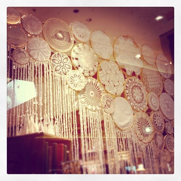 Hanging Doilies by The Lane. Image it with died doilies to match your decor!