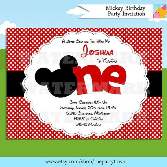 Mickey Mouse Invitation Red Mickey Mouse 1st Birthday