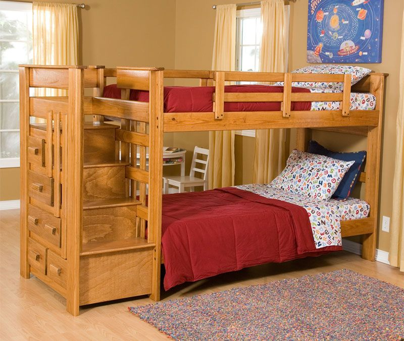 6 Low Bunk Beds with Storage for Low Ceilings Wooden