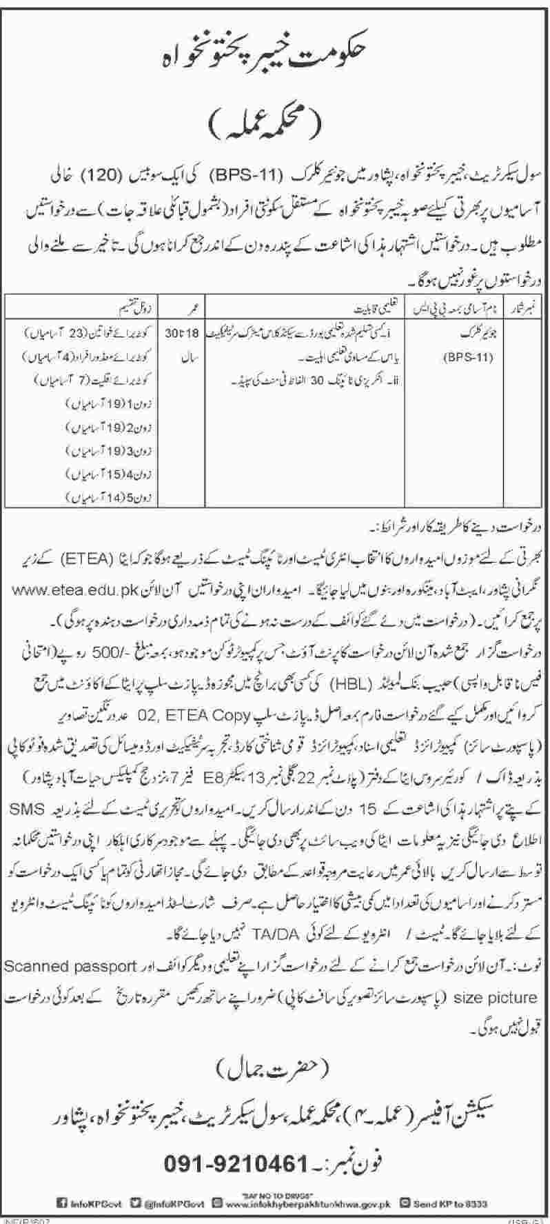 Jobs In Civil Secretariat Khyber Pakhtunkhwa 08 Feb 2018