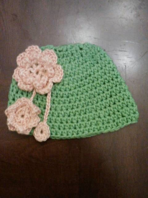 Lime Green Beanie with Peach Flowers.  Selling for $13.50 Plus Shipping and Handling..  Can also be seen on Facebook.
