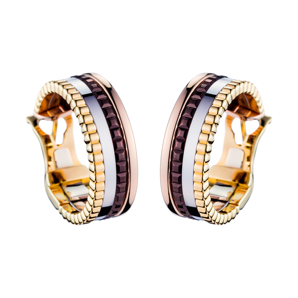 Quatre Classique 18-karat Yellow, Rose And White Gold Diamond Hoop Earrings - one size Boucheron