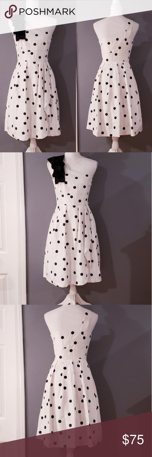 Nwot Tahari Asl Polka Dot Print One Shoulder Dress Clothes Design Fashion Tahari Dress [ 1740 x 580 Pixel ]