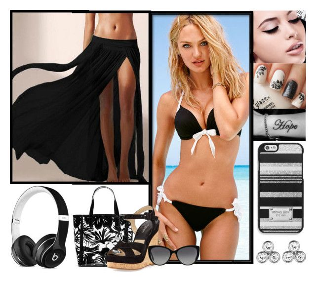 VS Beach Day by jessicagrewal on Polyvore featuring polyvore fashion style Victoria's Secret Michael Kors MICHAEL Michael Kors Maybelline Beats by Dr. Dre clothing