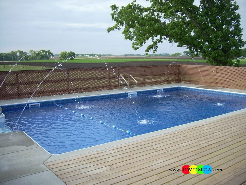 Swimming pool pool decks chic outdoor pool decorations deck with lattice wooden fence panels for Painting aluminum swimming pool coping