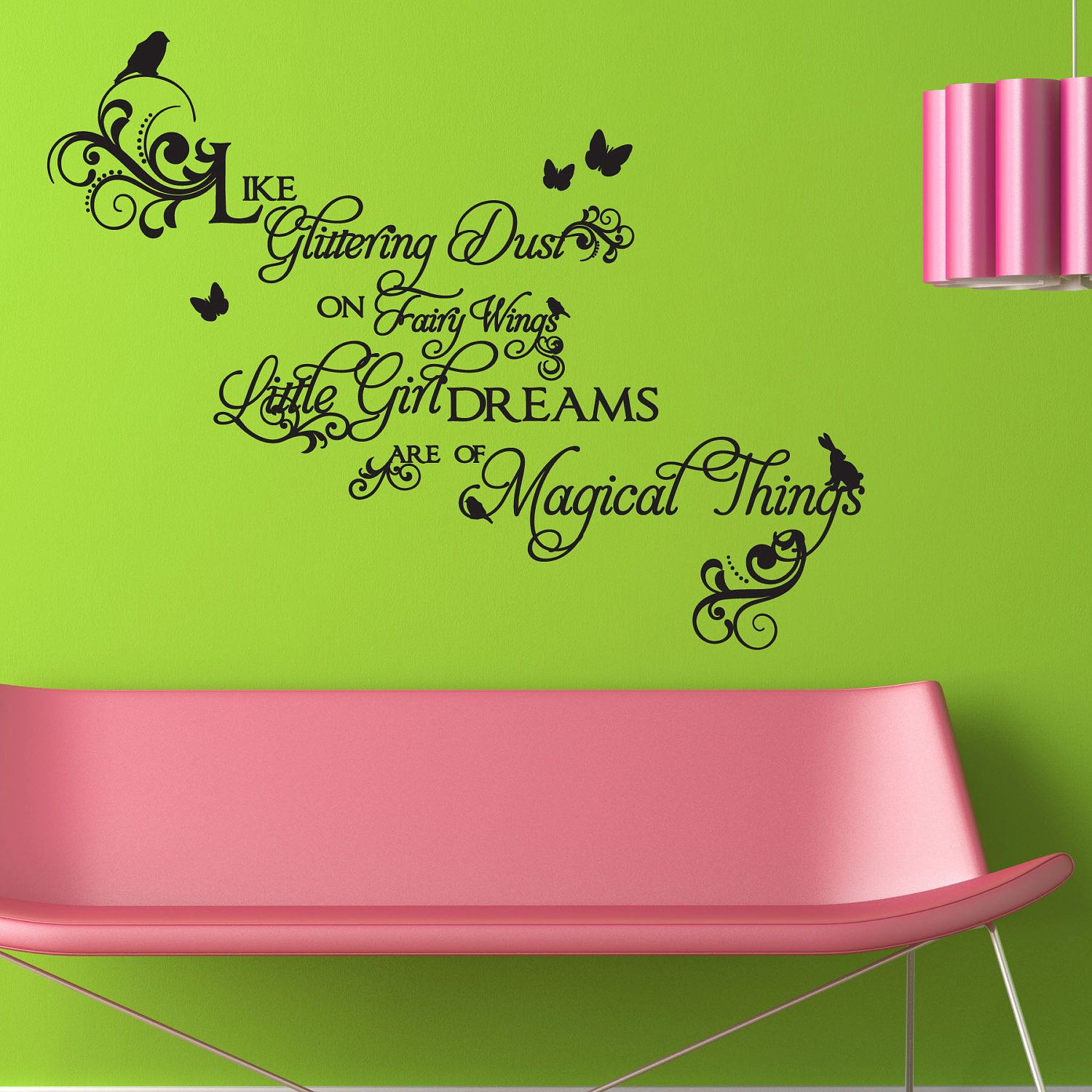 Girls fancy swirls wall decal quote with birds by janeymacwalls