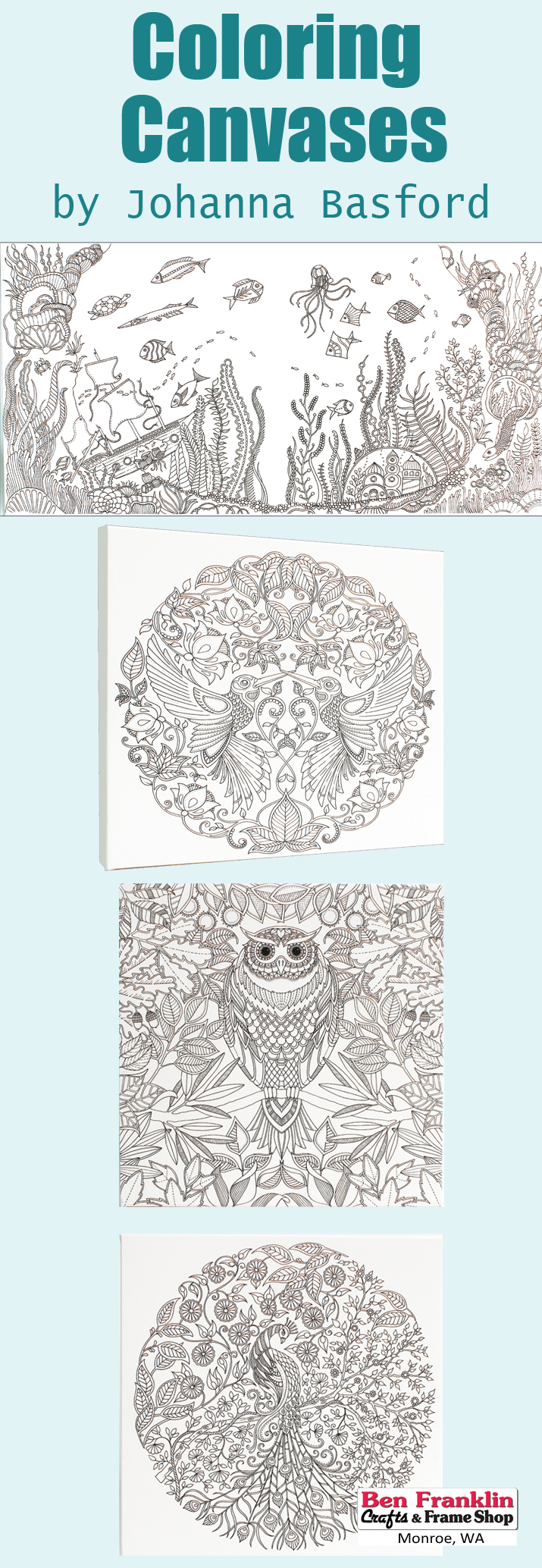 Come In To Check Out All The New Johanna Basford Coloring Canvases Now Available Our