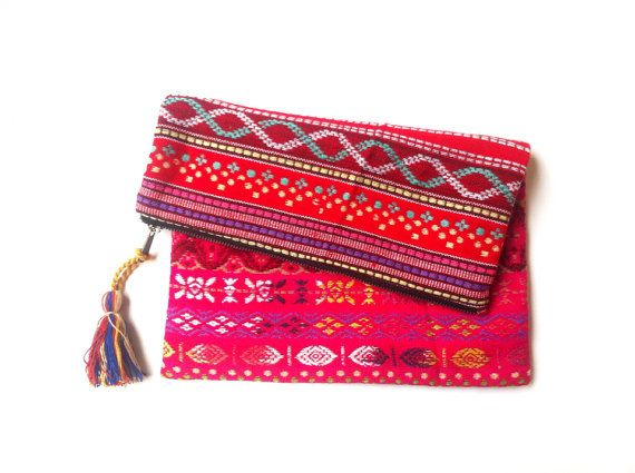 Woven fabric Fushia Red HIPPIE CLUTCH bag, FOLDOVER Tribal clutch, tribal pattern, colourful Banjara clutch, ethnic boho, Indian bag