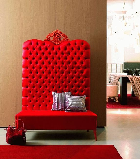30 Eye Catching Entryway Benches For Your Home: Luxury Tufted Sofa Bench With High Back And Carved Crown