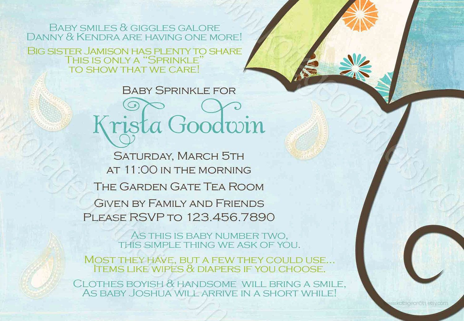 Sprinkle Shower Invitation for 2nd or 3rd Baby $16.00 {I like the ...