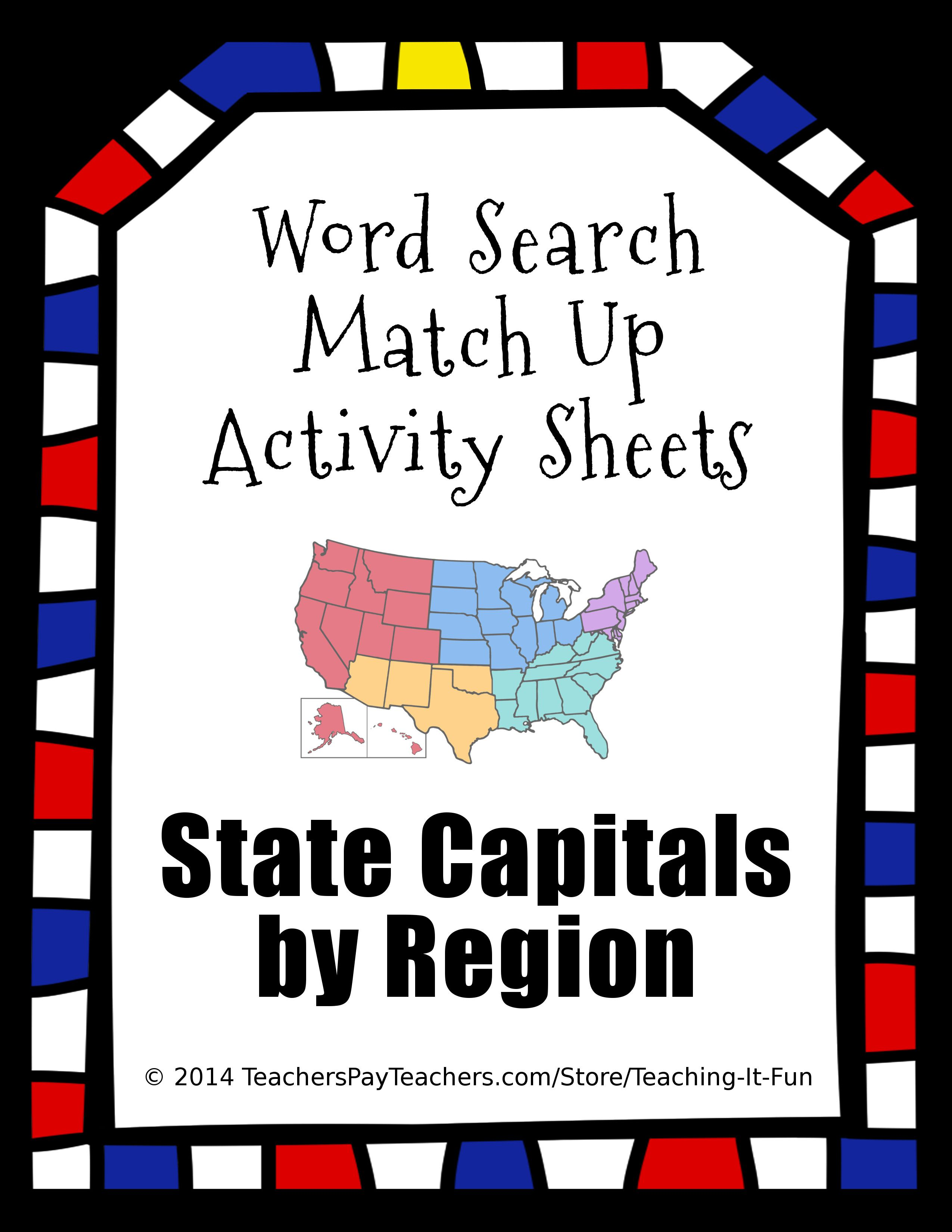 Word Search Match Up Activity Sheets State Capitals For