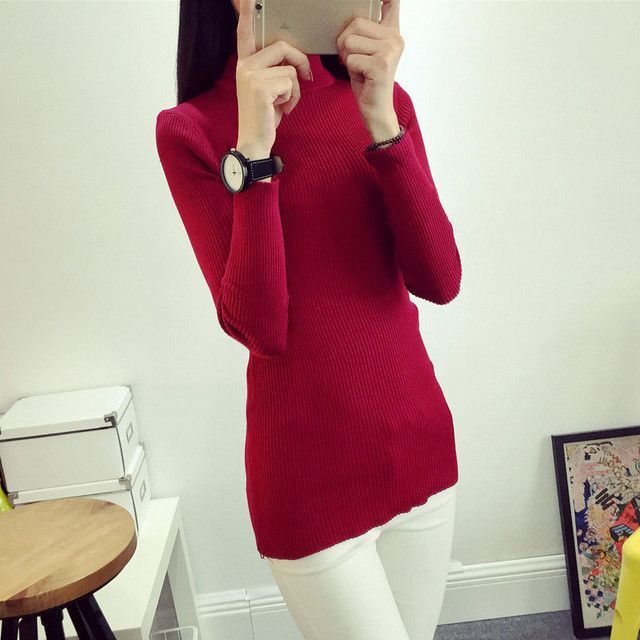 Chic-U women's slim medium-long turtleneck sweater thickening sweater knitting sweater basic solid color pullover