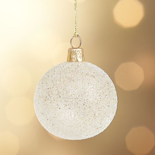 Flurry Glitter Champagne Ball Ornament Crate and Barrel Dreaming