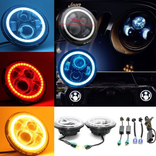 2pcs #angel eye #7''inch led headlight lamp halo fits jeep 97-15 #wrangler jk lj ,  View more on the LINK: http://www.zeppy.io/product/gb/2/272313607072/