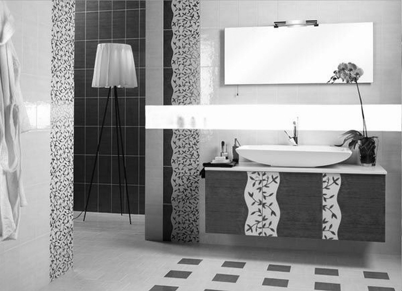 Black And White Tile Bathroom Decorating Ideas Image Result For Bathrooms With Wallpaper Images  Bathroom