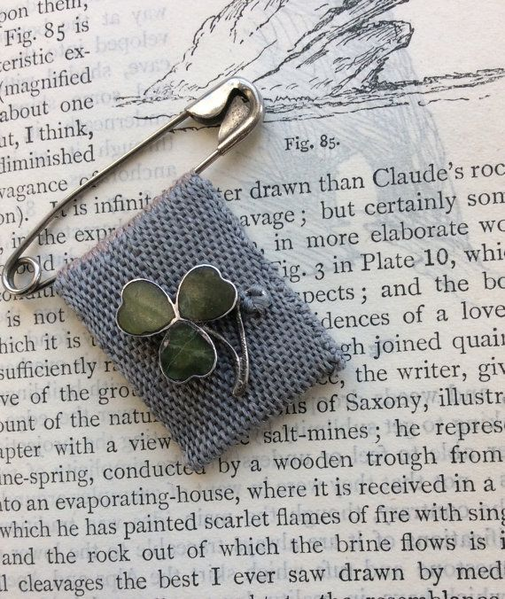 Vintage Shamrock Good Luck Charm Brooch by Mudlarkers on Etsy
