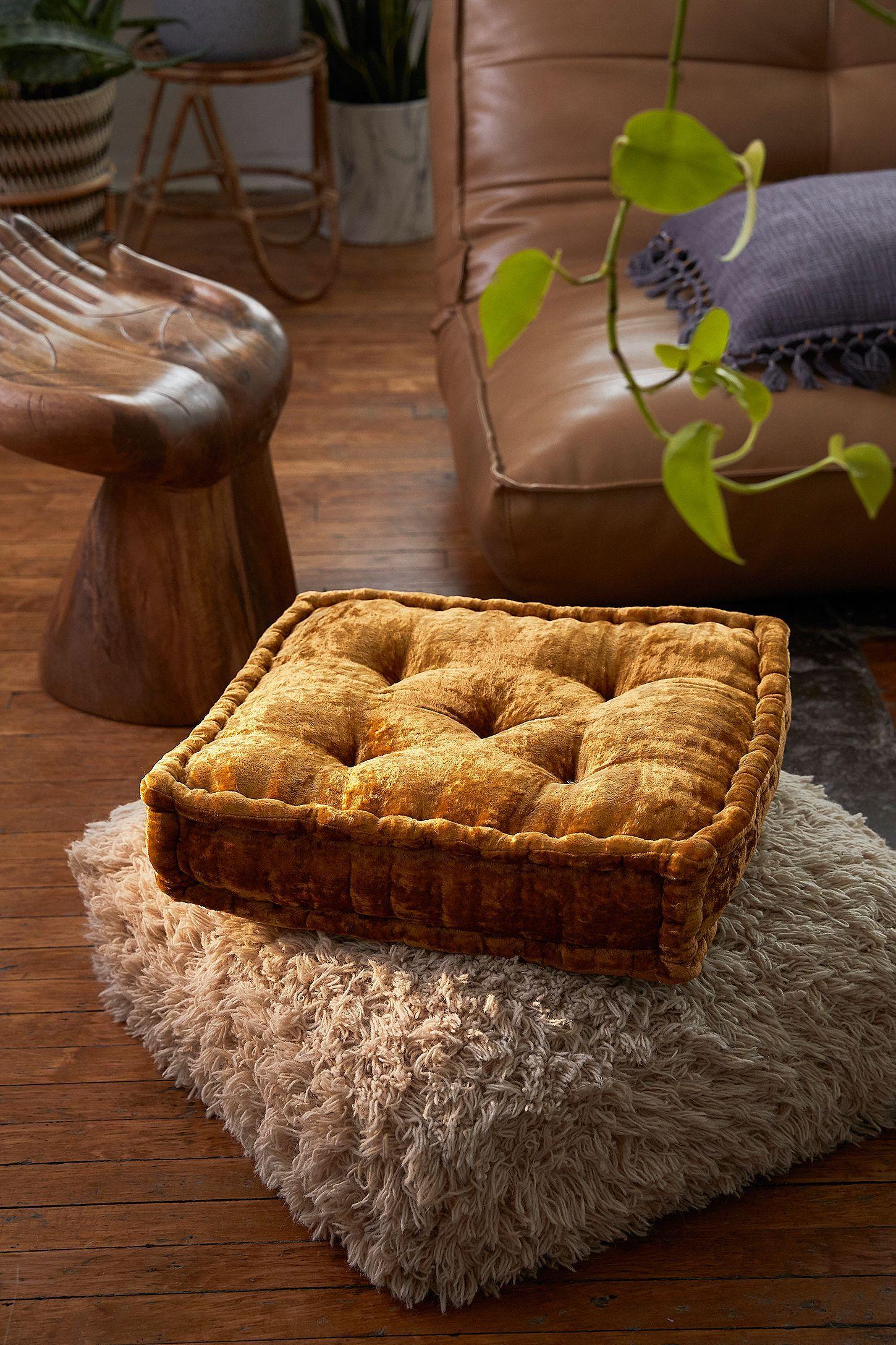 Slide View 4 Ruthie Velvet Floor Pillow