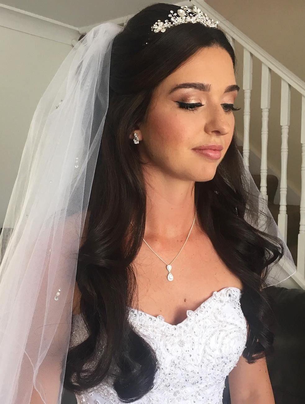 Half up half down wedding hairstyles 50 stylish ideas for brides bridal hair for veil and tiara junglespirit Gallery