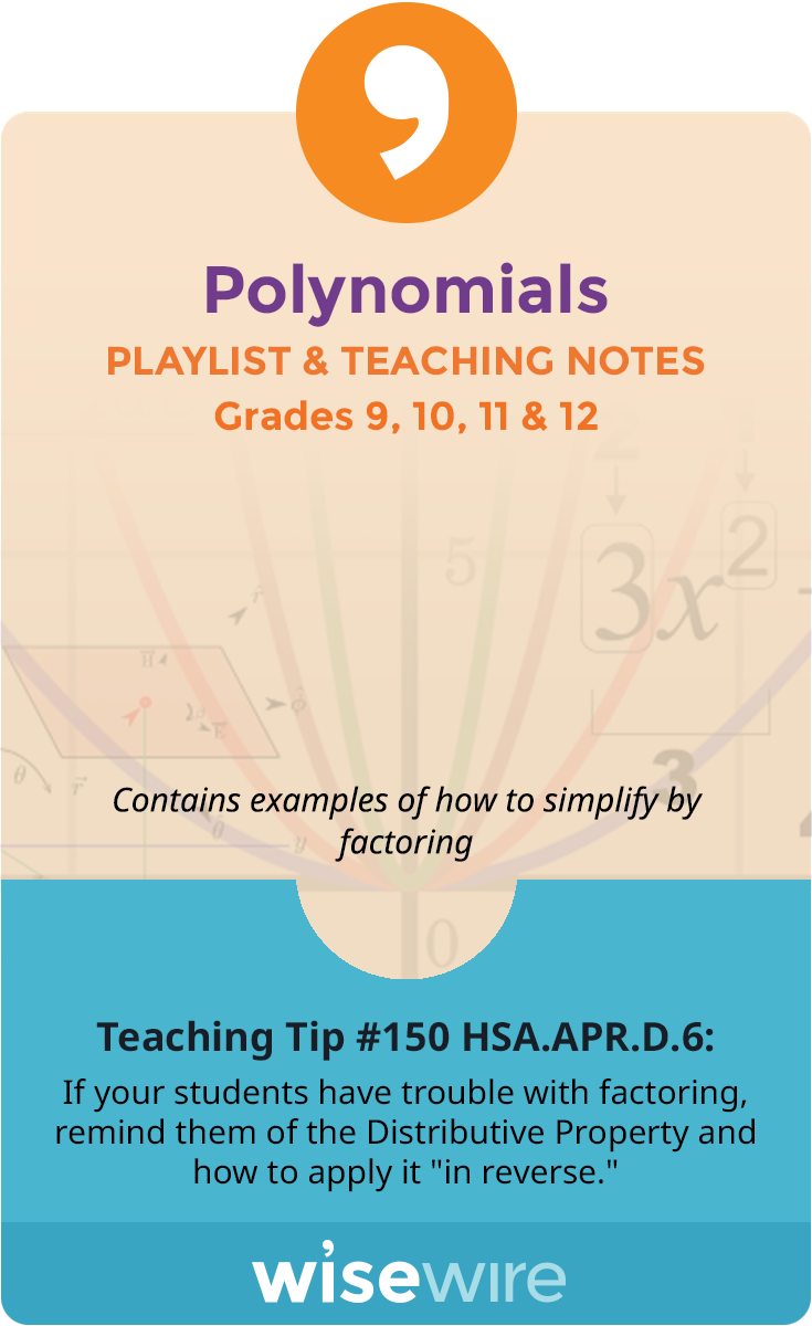 Polynomials - Playlist and Teaching Notes