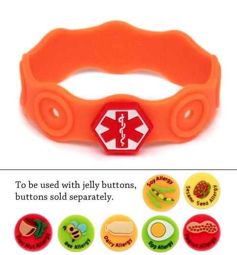 Jelly Band Silicone Medical Alert Bracelet For Food Allergies Peanut Dairy Soy Tree Nut Sesame Seed Egg