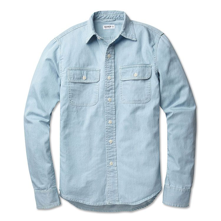Buck Mason Chambray Mens Work Shirt Mens Work Shirts Mens Chambray Work Shirts