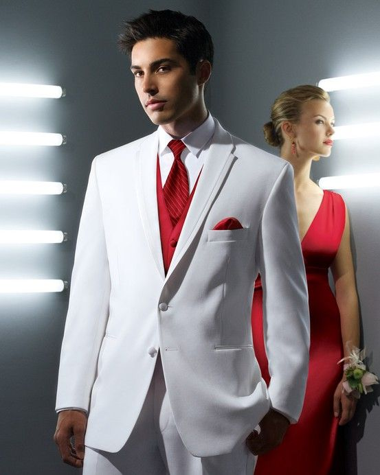 Prom Style Tuxedo Formal Wear White Suit Red Tie | Prom ...