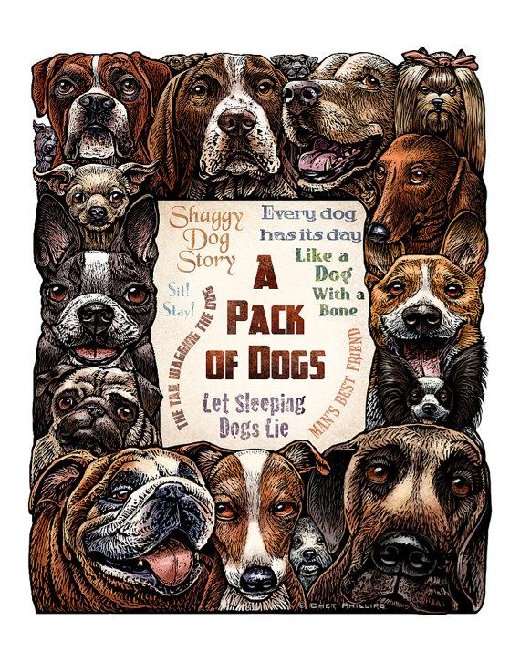 Ein Pack Hunde 11 x 14 Hund Kunstdruck von ChetArt auf Etsy, $25.00