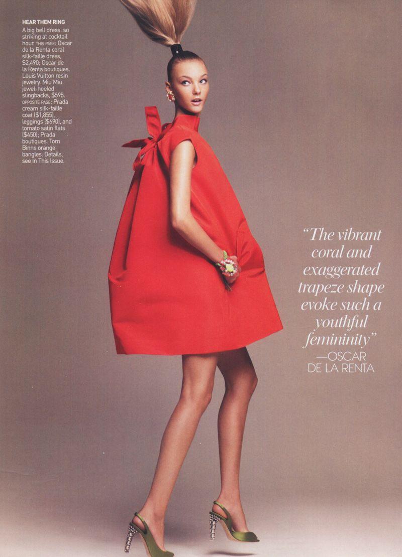 Red Trapeze dress By De La Renta.