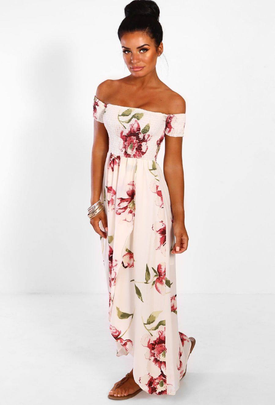 b1e375fdad7 Beach Glam Cream Multi Floral Bardot Wrap Maxi Dress