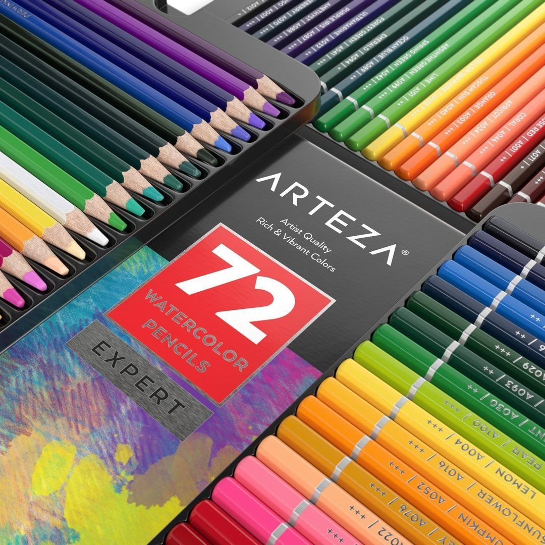 Bundle Includes 72 Expert Watercolor Pencils 2 Watercolor Pads