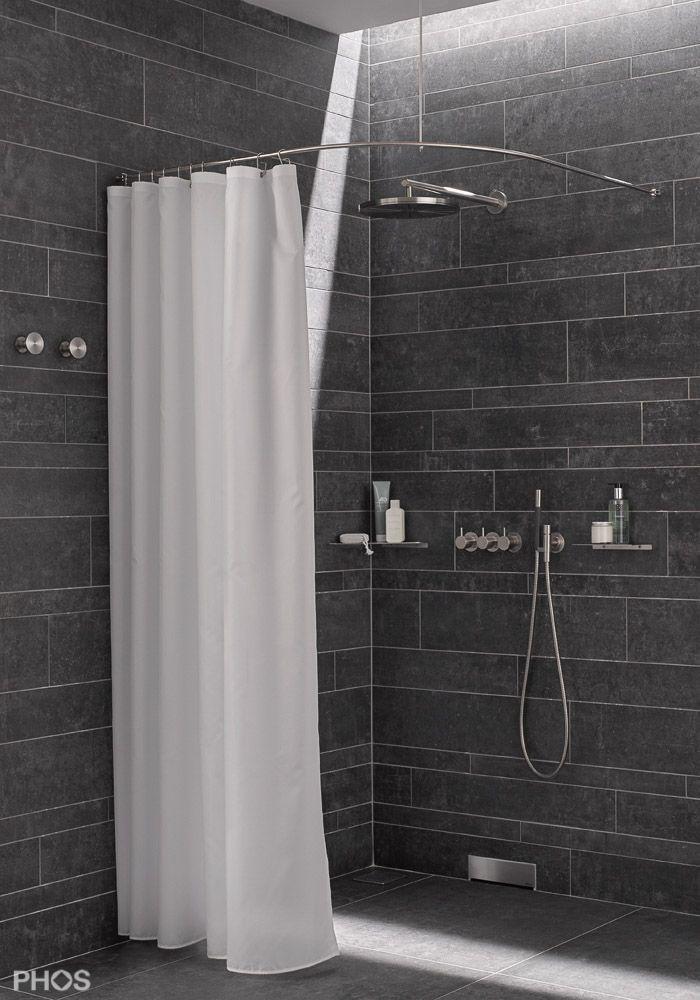 Duschvorhangstange Viertelkreis für Duschwanne Bathroom