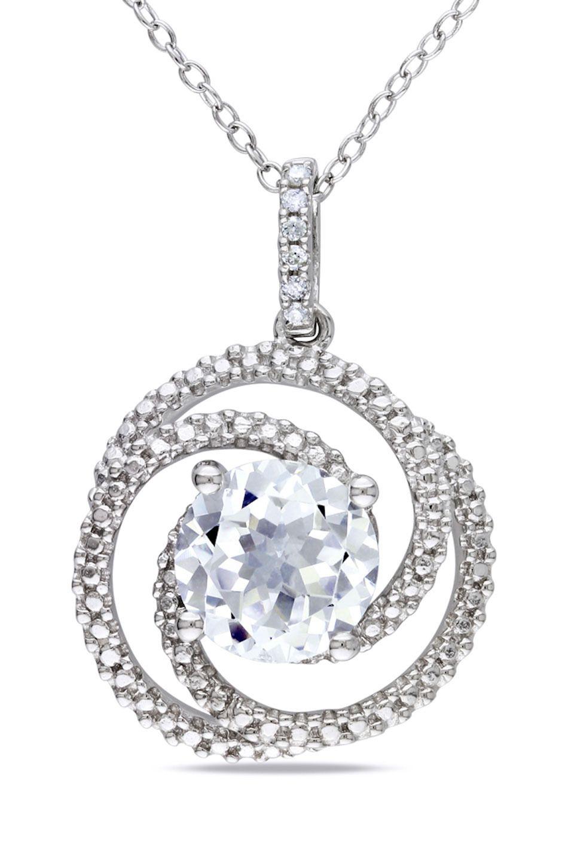 3.4 CT White Sapphire & 0.04 CT Diamond Pendant In Silver