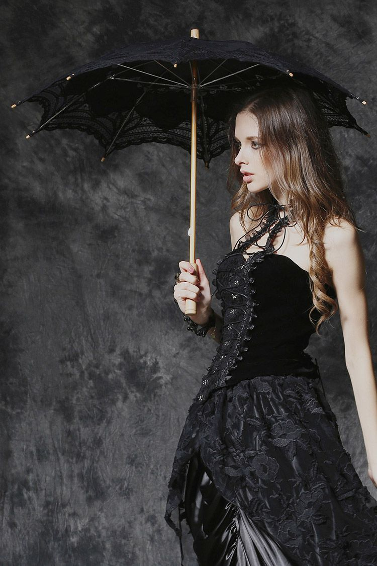 Dark in love black gothic victorian lace parasol with wooden handle
